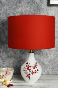 Cherry Blossom Table Lamp with 2 (Small, Large) Red Lampshade