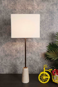Roseata Marble Table Lamp with 2 [YELLOW STRIPED, WHITE] Square Shade