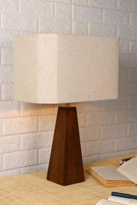 Tree Trunk Table Lamp with Hexagon Wheat Brown Lampshade
