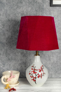Cherry Blossom Table Lamp with Hexagon Pink Lampshade