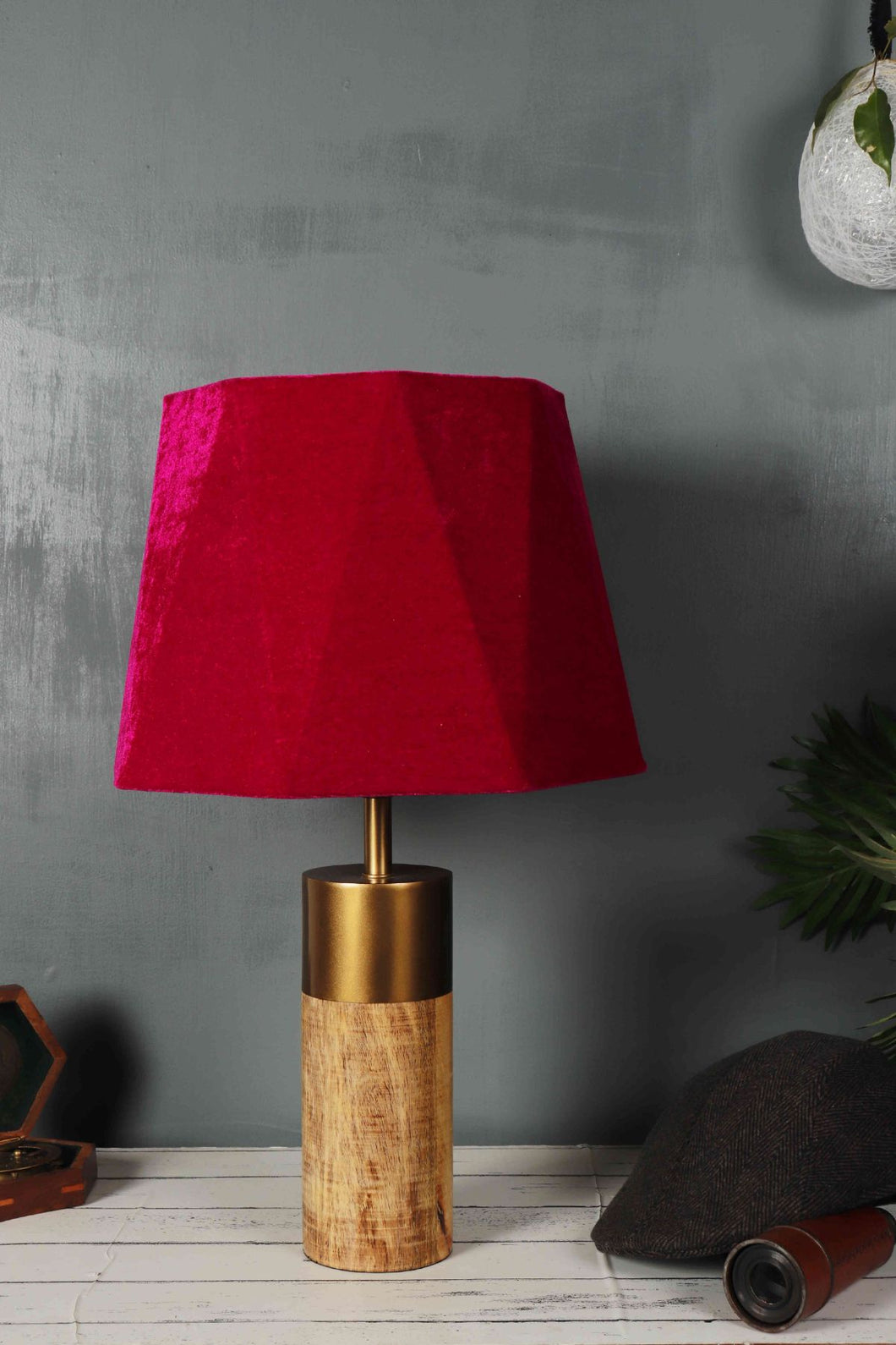 Old is Gold Pink Velvet Lampshade with a Golden Base