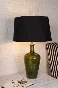 Trendy Hexagon Shaped Black Shade Merlot Green Table Lamp