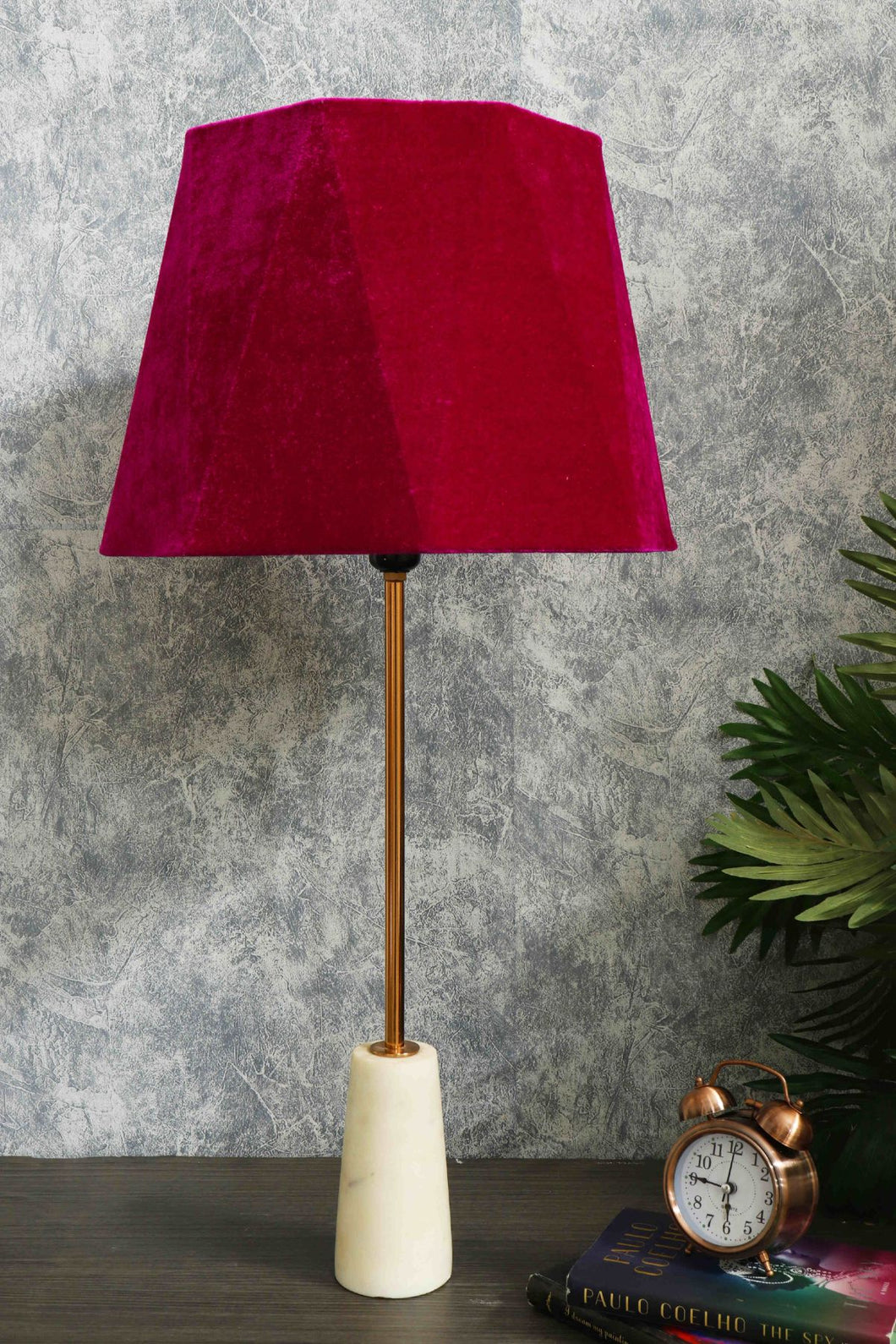 Roseata Marble Table Lamp with 2 [PINK VELVET, ORANGE VELVET] Shade
