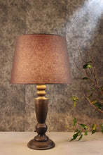 Load image into Gallery viewer, Trophy Smoked Table Lamp with Tapered Grey Lampshade