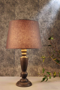 Trophy Smoked Table Lamp with Tapered Grey Lampshade