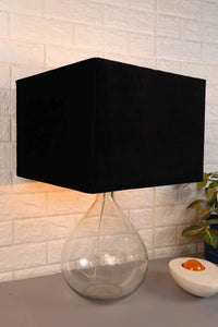 Tear Drop Table Lamp with 3 [VELVET, BLACK, WHITE] Rectangular Lampshade