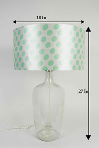 Clear Bottle Table Lamp with Round Shade 2 [GREY, GREEN POLKA DOTS]