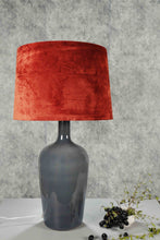 Load image into Gallery viewer, Smokey Bottle Table Lamp with 2 [GREEN VELVET, RUGGED ORANGE] Shade