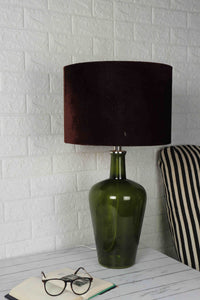 Merlot Green Table Lamp with 3 (Velvet, Silver Velvet, White) Shade