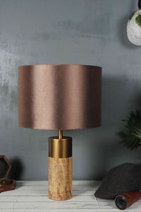 Old is Gold Table Lamp with 3 [Red White, Brown Velvet, Copper] Lampshade