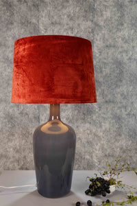 Smokey Bottle Table Lamp with 2 [GREEN VELVET, RUGGED ORANGE] Shade