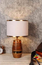 Load image into Gallery viewer, Golden Strip White Lampshade Tribal Table Lamp