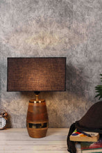 Load image into Gallery viewer, Tribal Wooden Table Lamp with 2 [BROWN, BLACK] Rectangular Lampshade