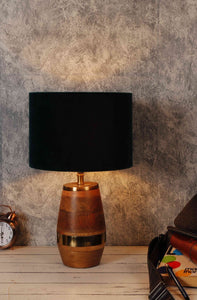 Tribal Table Lamp with 4 [BLACK, RED, GREEN VELVET, GREY] Shade
