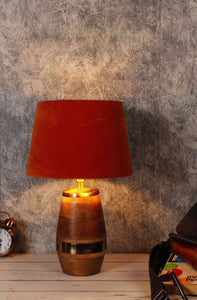 Tribal Wooden Table Lamp with 2 [ORANGE VELVET, OLIVE GREEN]  Shade