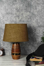Load image into Gallery viewer, Tribal Wooden Table Lamp with 2 [ORANGE VELVET, OLIVE GREEN]  Shade