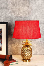 Load image into Gallery viewer, Red & Black Tapered Shade Tropical Table Lamp