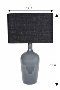 Smokey Bottle Table Lamp with 2 [BLACK, WHITE] Rectangular Shade