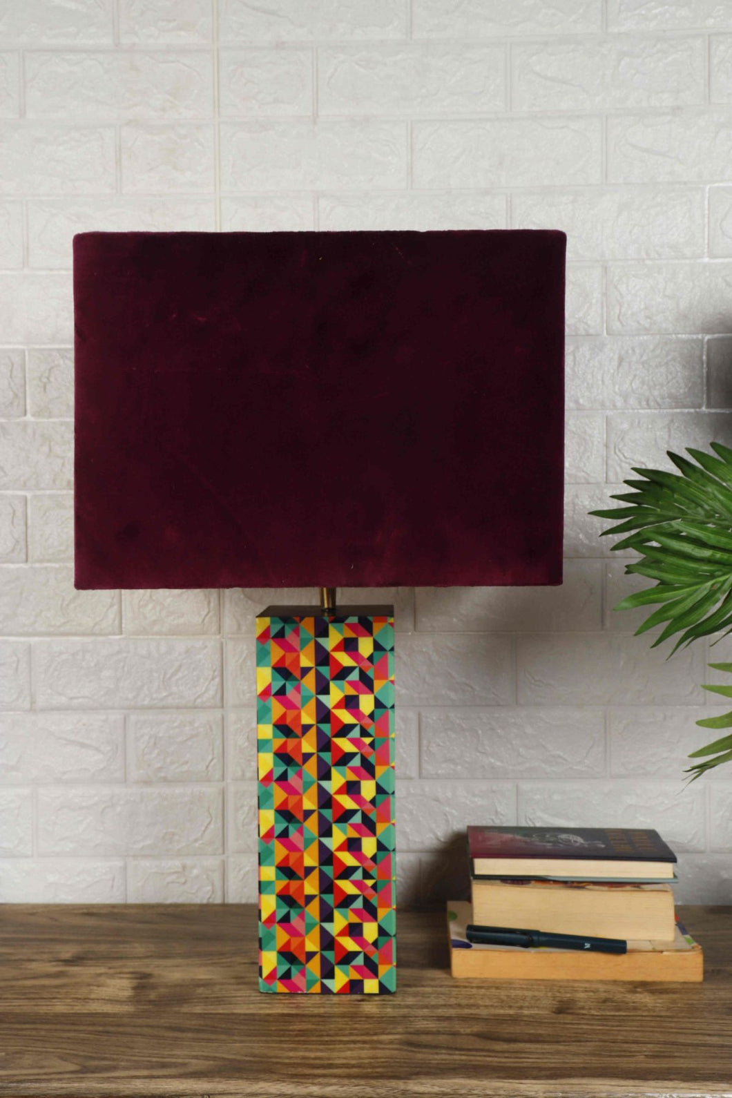 Color Bomb Table Lamp with 3 [VELVET, GREEN VELVET, WHITE] Square Shade