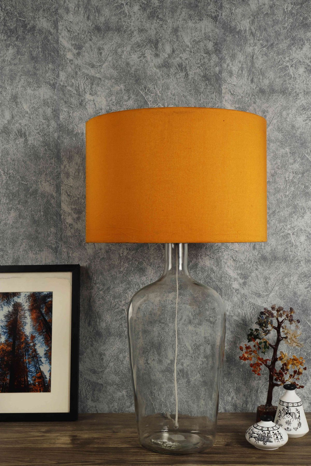 Clear Bottle Table Lamp with 3 [ORANGE, FLOWER PRINTED, TURQUOISE] Shade