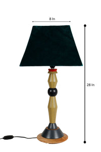 Lassie Table Lamp with Trapezoid Green Velvet Lampshade