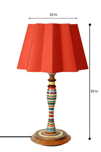 Splendid Table Lamp with Designer Red Folded Shade