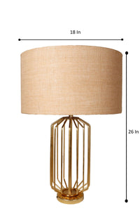Golden Coop Table Lamp with 3 [JUTE BROWN, OLIVE, GREY] Shade