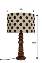 Load image into Gallery viewer, Bumpy Brown Table Lamp with Round Polka Dots Shade