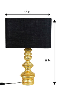 Quirky Gold Table Lamp with Black Rectangular Lampshade