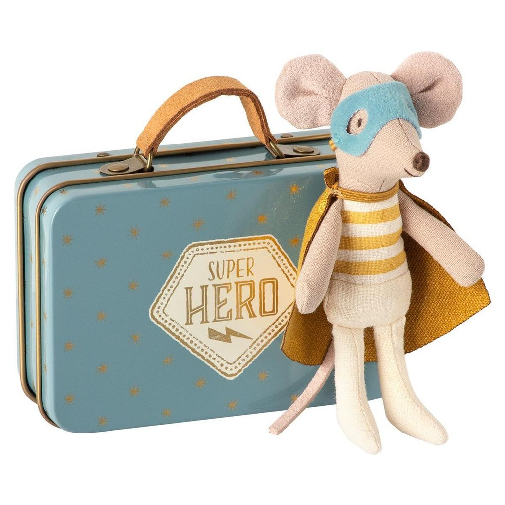 Maileg little brother super hero mouse in suitcase