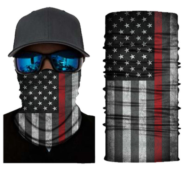 (S152) USA Flag Gaiter - Thin Red Line
