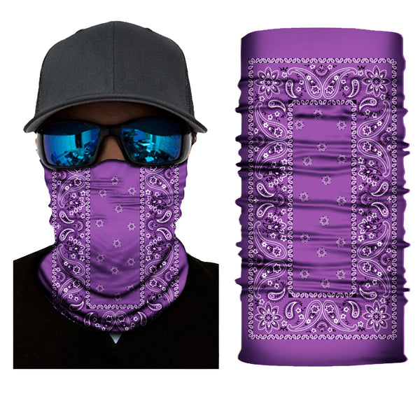 (S156) Traditional Bandanna Design Gaiter - Purple