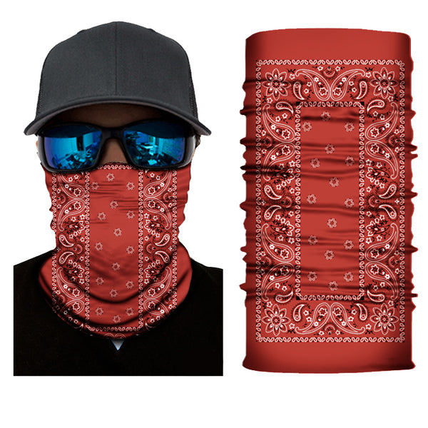 (S157) Traditional Bandanna Design Gaiter - Red