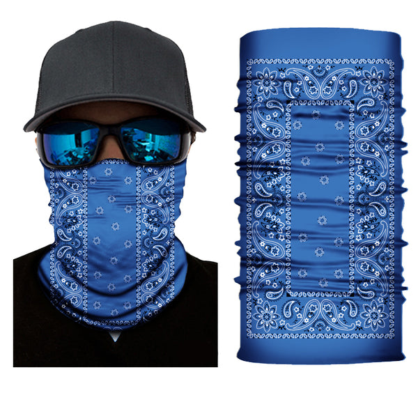 (S158) Traditional Bandanna Design Gaiter - Blue