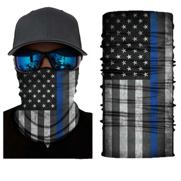 (S168) USA Flag Gaiter - Thin Blue Line