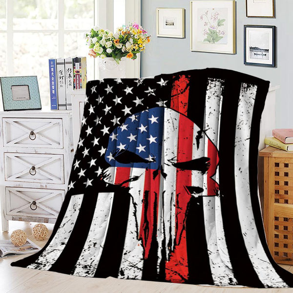 USA Punisher Skull Blanket - Coral Fleece