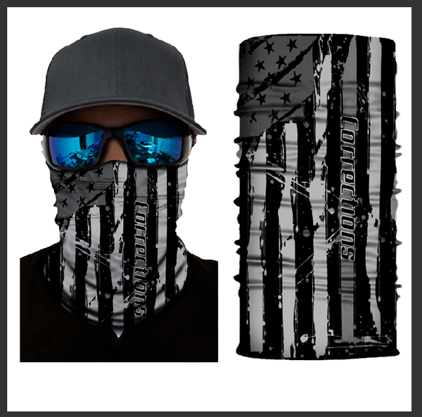 (S700) USA Flag Gaiter - Thin Grey Line (Corrections)