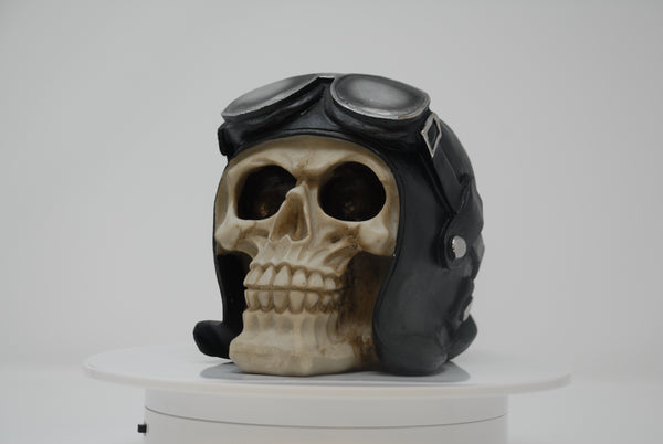 (SK09) Resin Skull with Leather Helmet/Goggles