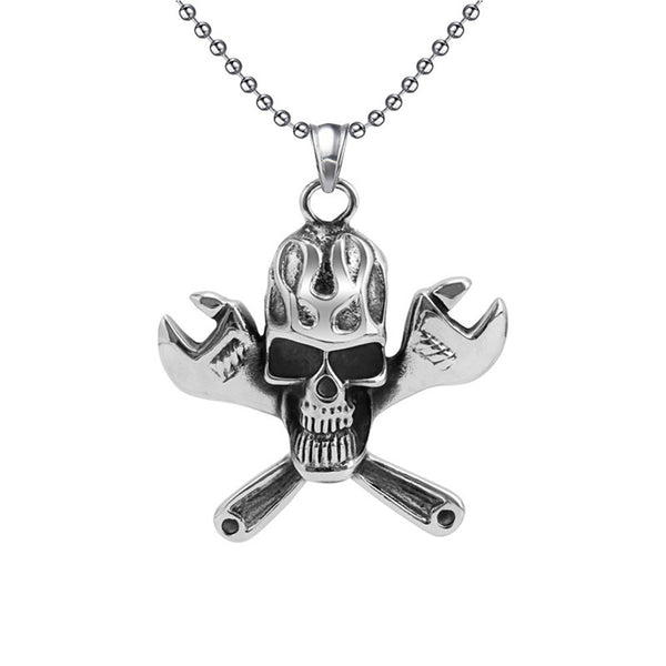 Skull with Wrenches Pendant Necklace - Stainless Steel