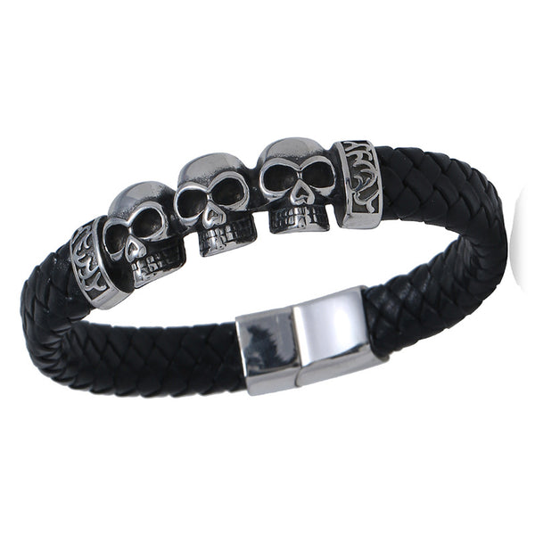 Black Leather Triple Skull Bracelet