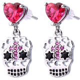 Sugar Skull Dangle Earring with Large Pink Jewel