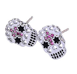 Sugar Skull Earring with Small Pink Jewels