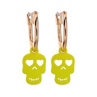 Bright Yellow Brass Earring with Skull