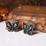 Butterfly Earrings with Skulls - Zinc Alloy