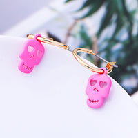 Bright Pink Brass Earring with Skull