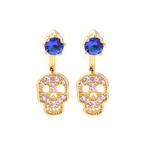 Sugar Skull Earring with Large Blue Jewel