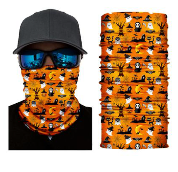 (HW05) Halloween Gaiter - Orange with Scary Stuff