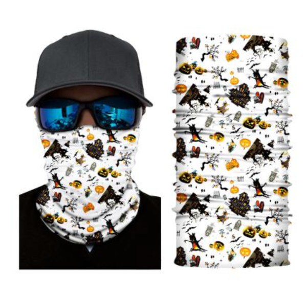 (HW06) Halloween Gaiter - White with Scary Stuff