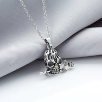 Skull with Rose in Mouth Necklace - Glow in the Dark Bead Inside