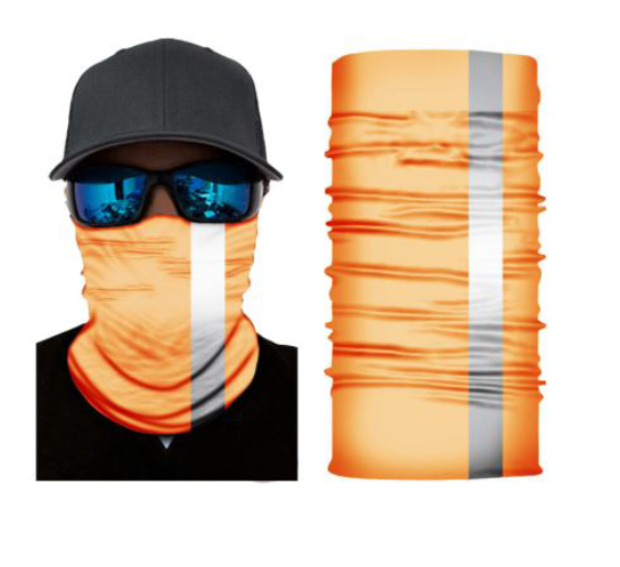 (R03) Fluorescent Orange Gaiter - Reflective Stripe